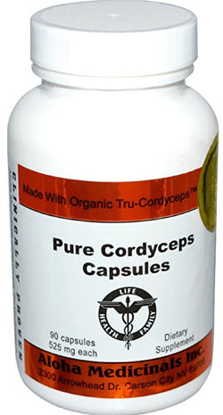 Organic Cordyceps Synensis Energy & Stamina 525mg 4 Bottles of 90 Capsules, Aloha Medicinals - Wholesome Dynamics