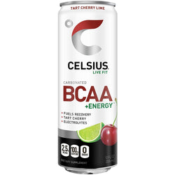 CELSIUS BCAA +Energy Sparkling Post-Workout Recovery & Hydration Drink, Tart Cherry Lime, 12oz. Slim Can, 12 Pack