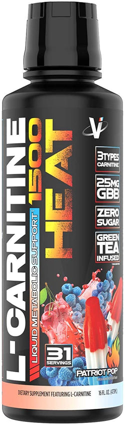VMI Sports L-Carnitine Liquid HEAT 1500 Thermogenic Fat Burner, Patriot Popsicle Flavor, 31 Servings, Boost Metabolism and Energy, Caffeine-Free, Weight Loss (16 FL OZ)