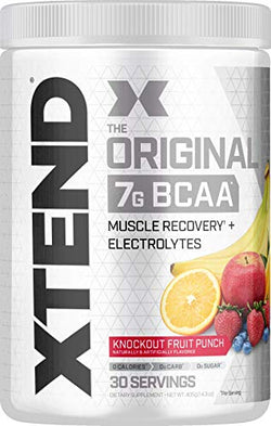 Scivation XTEND Original BCAA Powder Knockout Fruit Punch | Sugar Free Post Workout Muscle Recovery Drink with Amino Acids | 7g BCAAs for Men & Women | 30 Servings