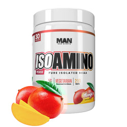 Man Sports Iso Amino Pure Isolated BCAA. Fat Burning Mango Flavored BCAA Powder for Muscle Recovery and Lean Muscle Growth (30 Servings)