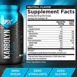 EFX Sports Karbolyn Fuel | Pre, Intra, Post Workout Carbohydrate Supplement Powder | Carb Load, Energize, Improve & Recover Faster | Easy to Mix | Neutral (4.4 lbs)
