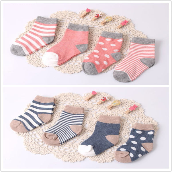 Cotton Baby Socks - 4 sets