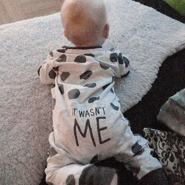 """Wasn't Me"" Spotted Romper"