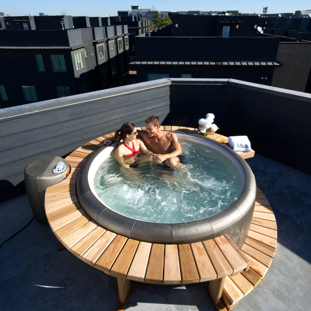 Couple Enjoying a 110v Hot Tub