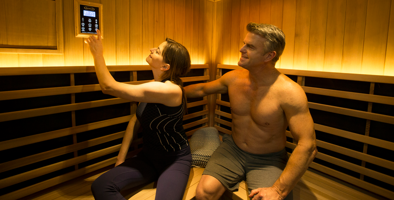 Couple Enjoying an Infrared Sauna & 110v Hot Tub