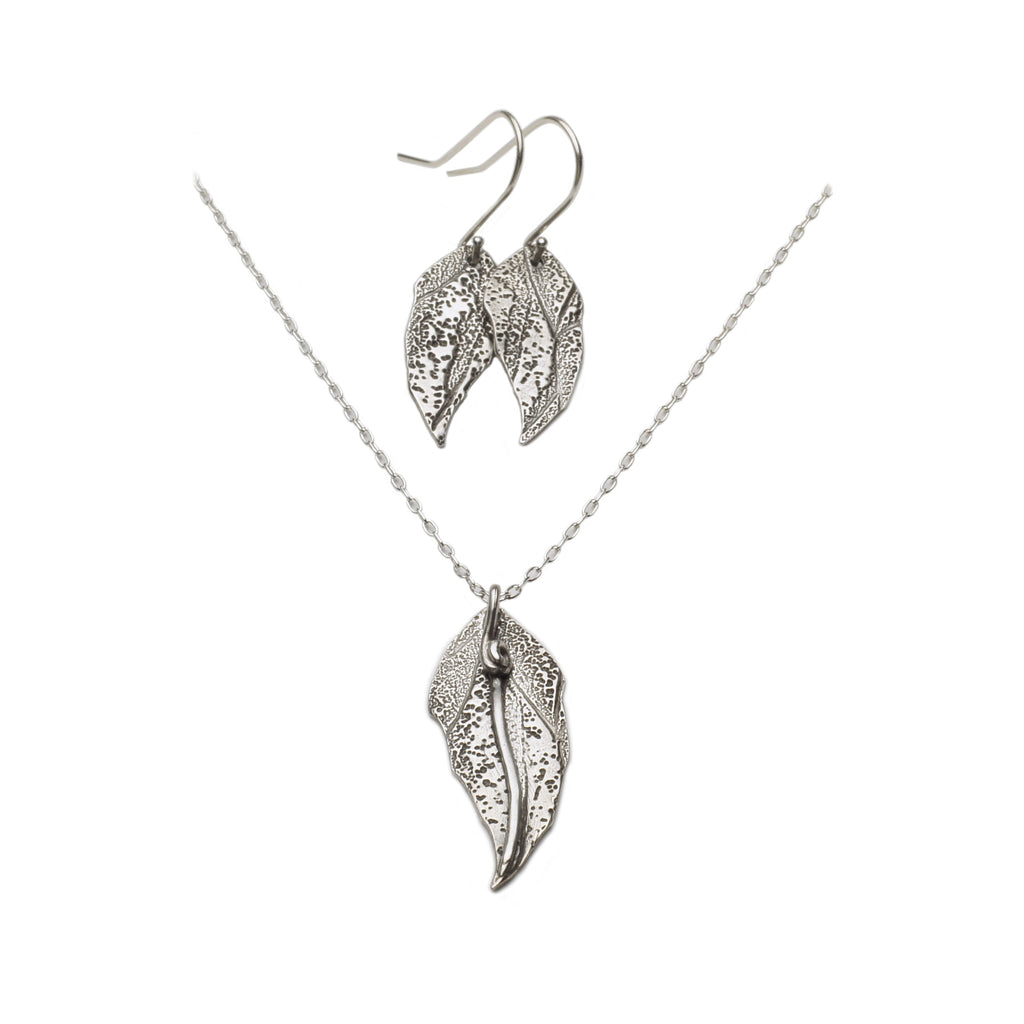 Leaf Pendant and Earrings