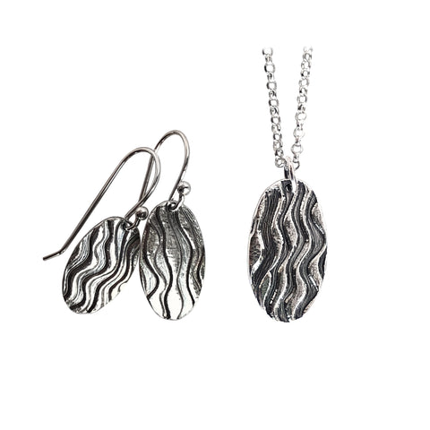 Oval Wave Pendant and Earrings