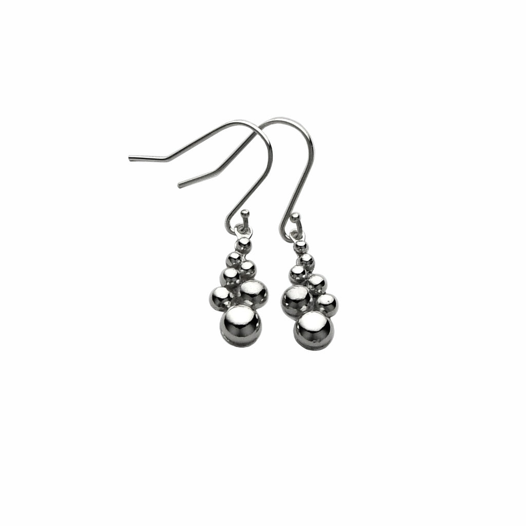shiny silver bubbles earrings