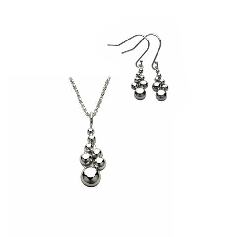 silver bubbles pendant and earring set