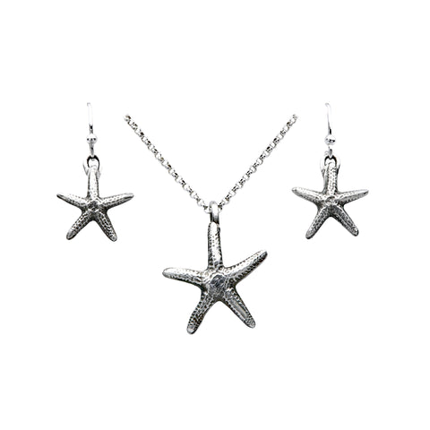 starfish pendant, starfish earrings, starfish jewelry, silver starfish jewelry