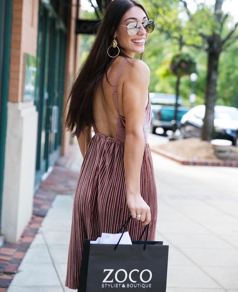 Velvet Pleated Dress