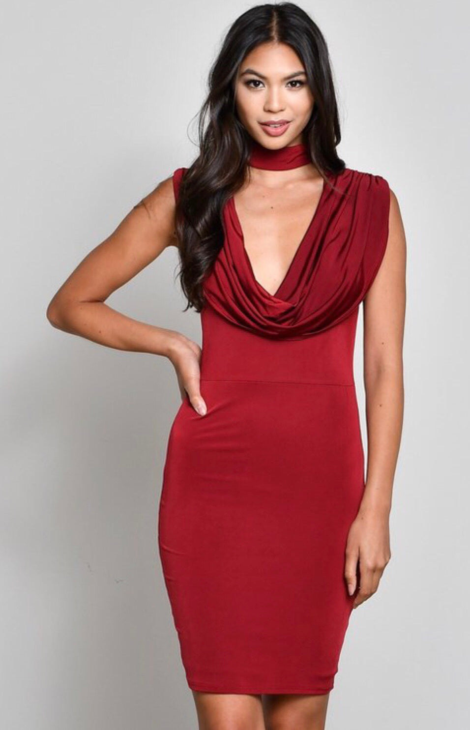 Choker Cowl Neck Dress