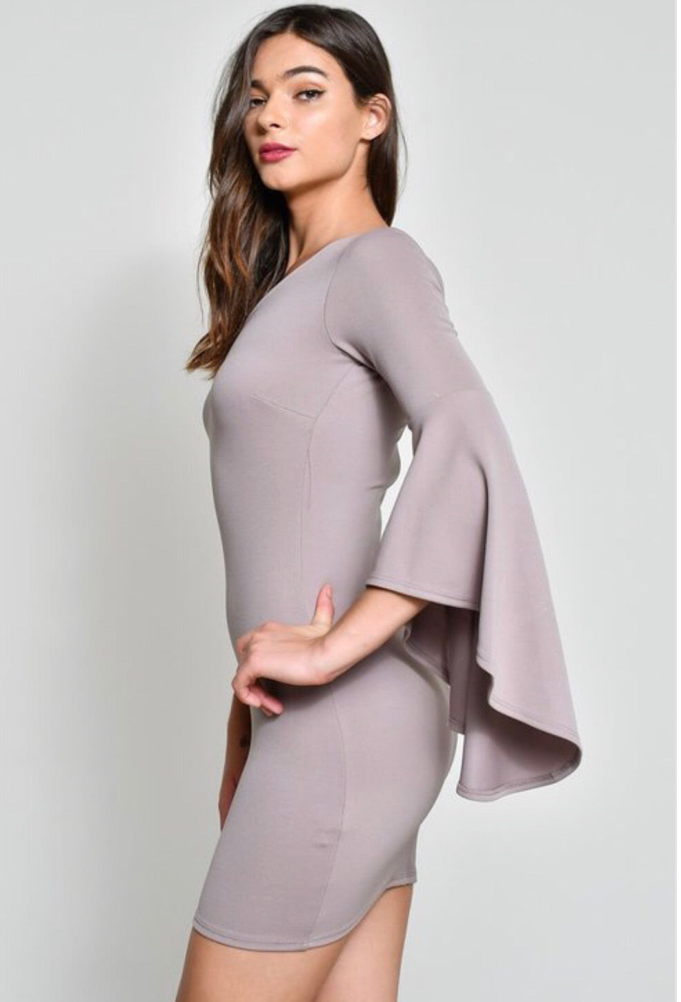 One Shoulder Bell Sleeve Dress