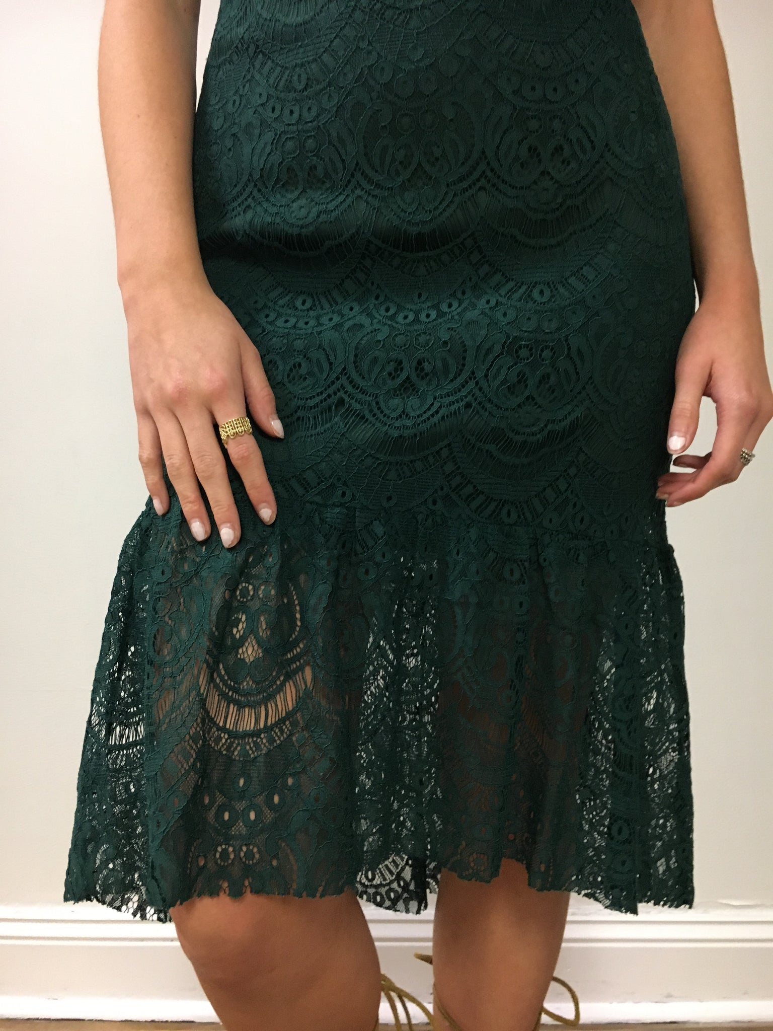 Mermaid Hunter Green Lace