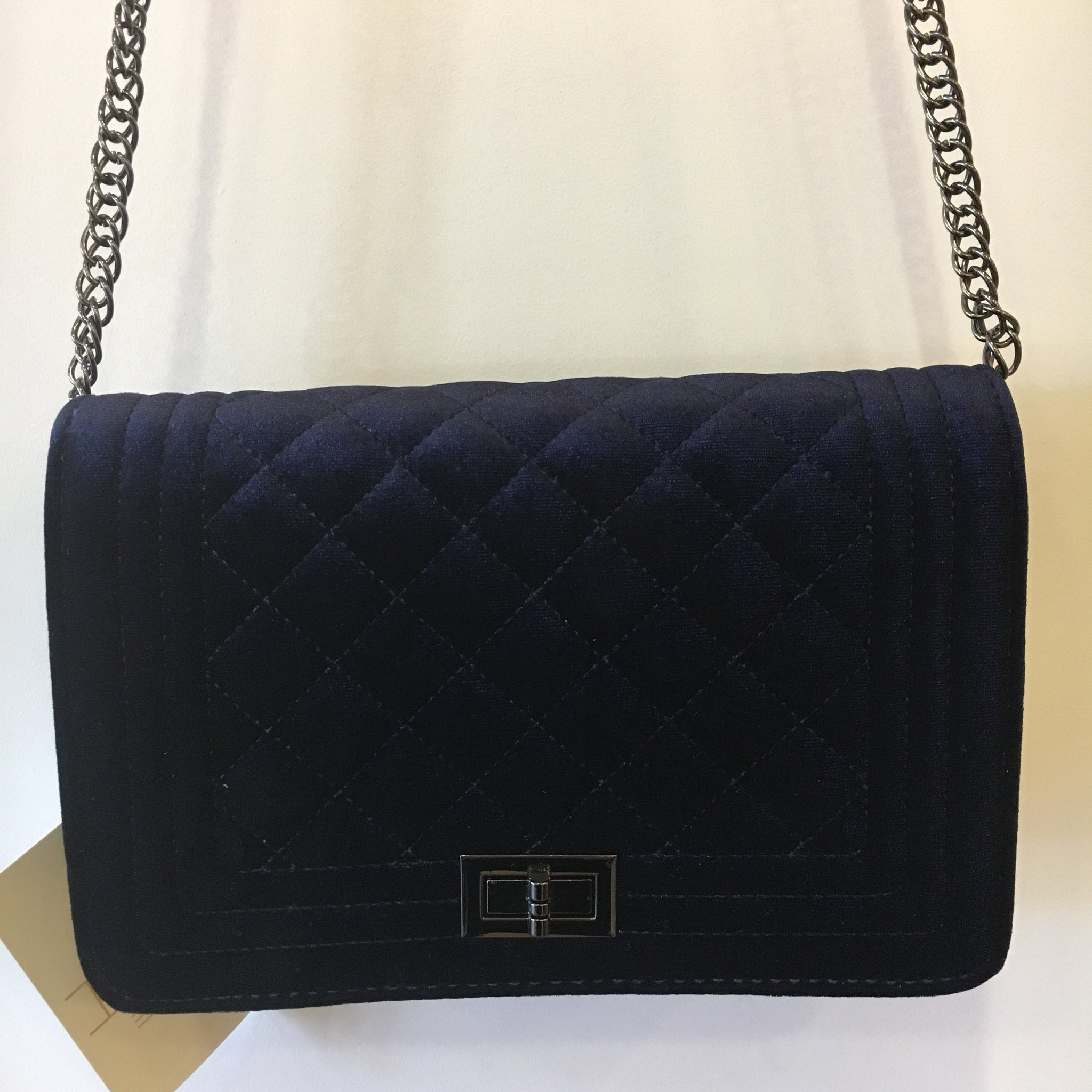 Quilted Navy Velvet Cross Body