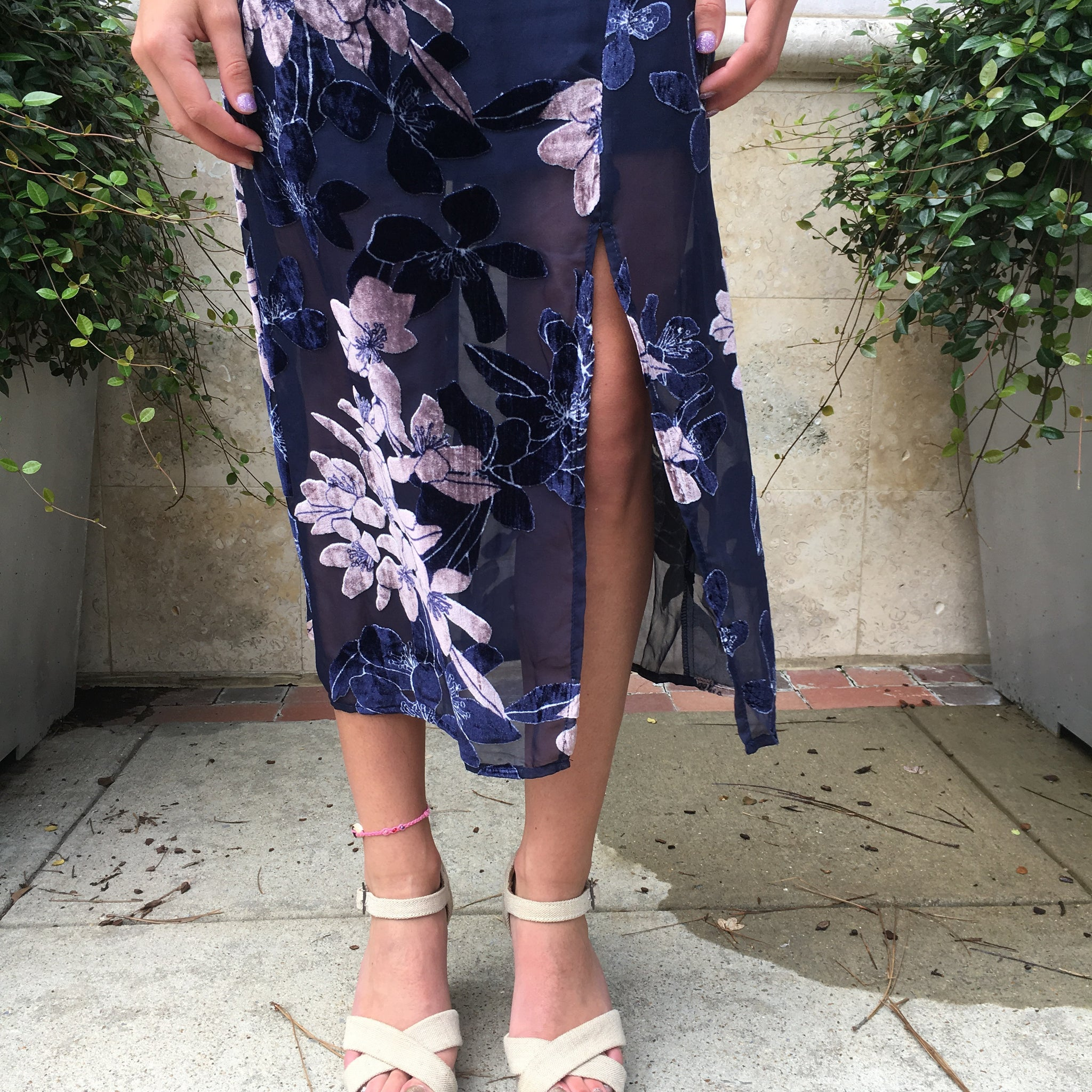 Velvet Printed Slit Dress