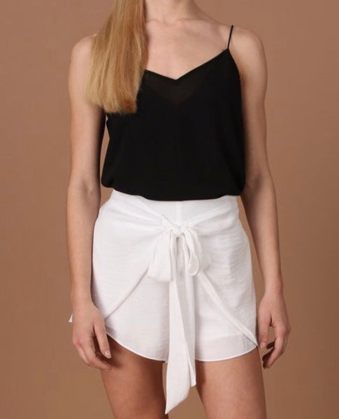 Front Tie Silky Shorts