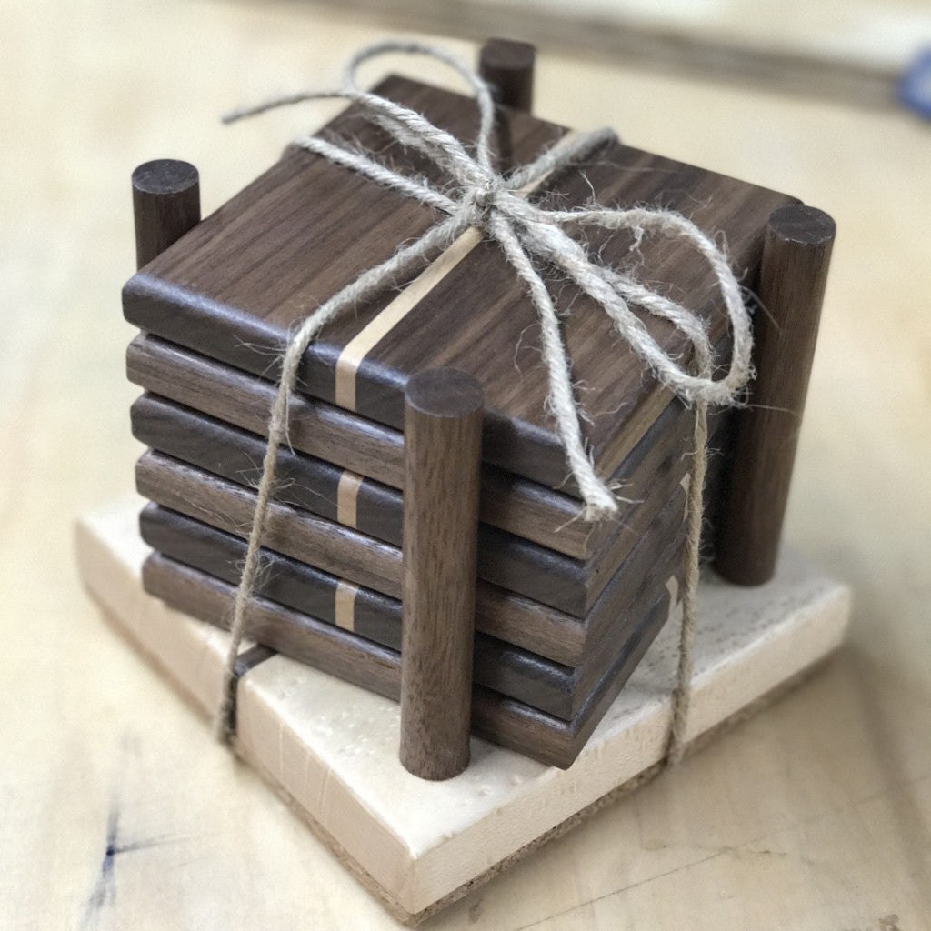 Wooden Coasters with Holder