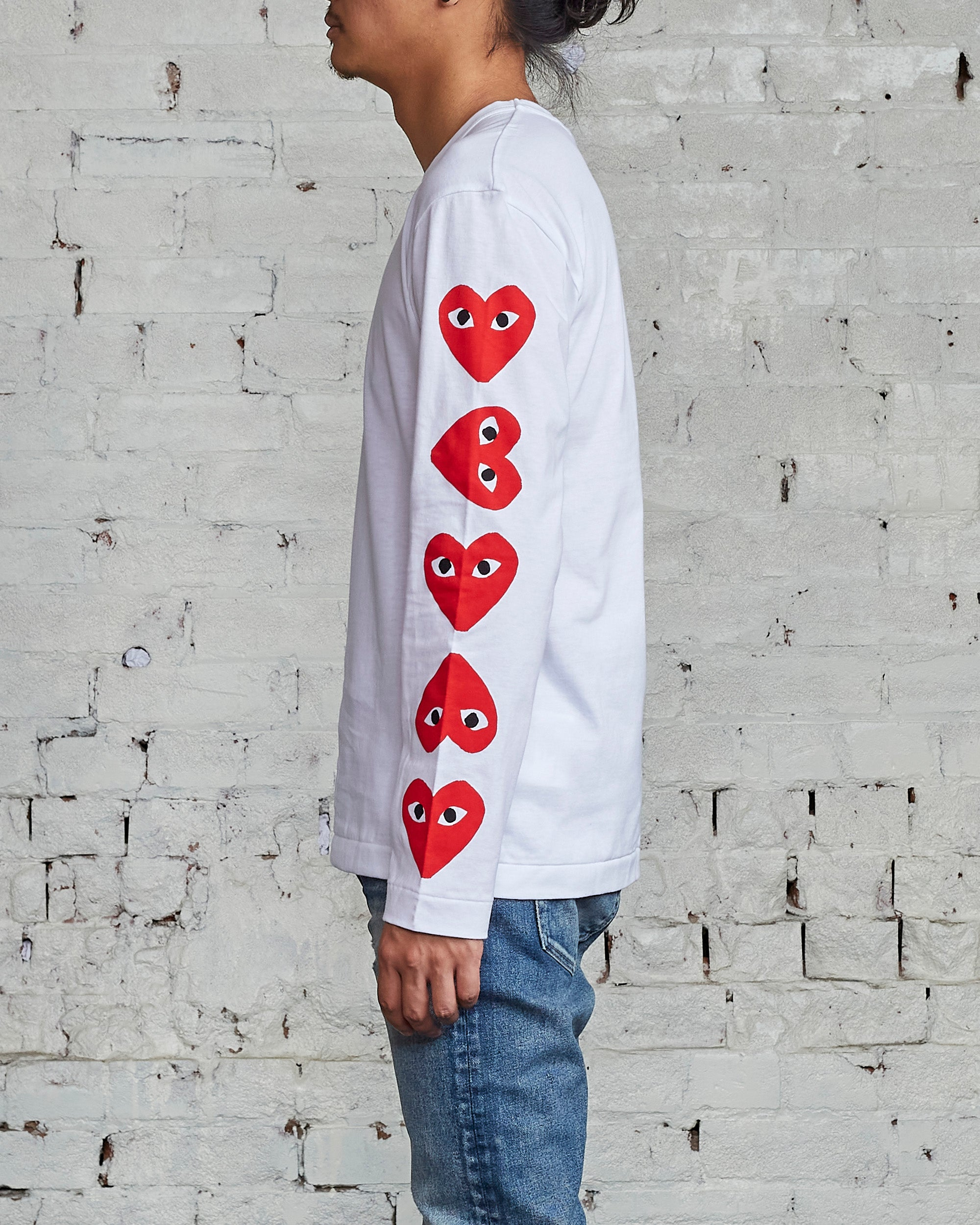 Comme des Garçons PLAY Multi Red Heart Long Sleeve T-Shirt White