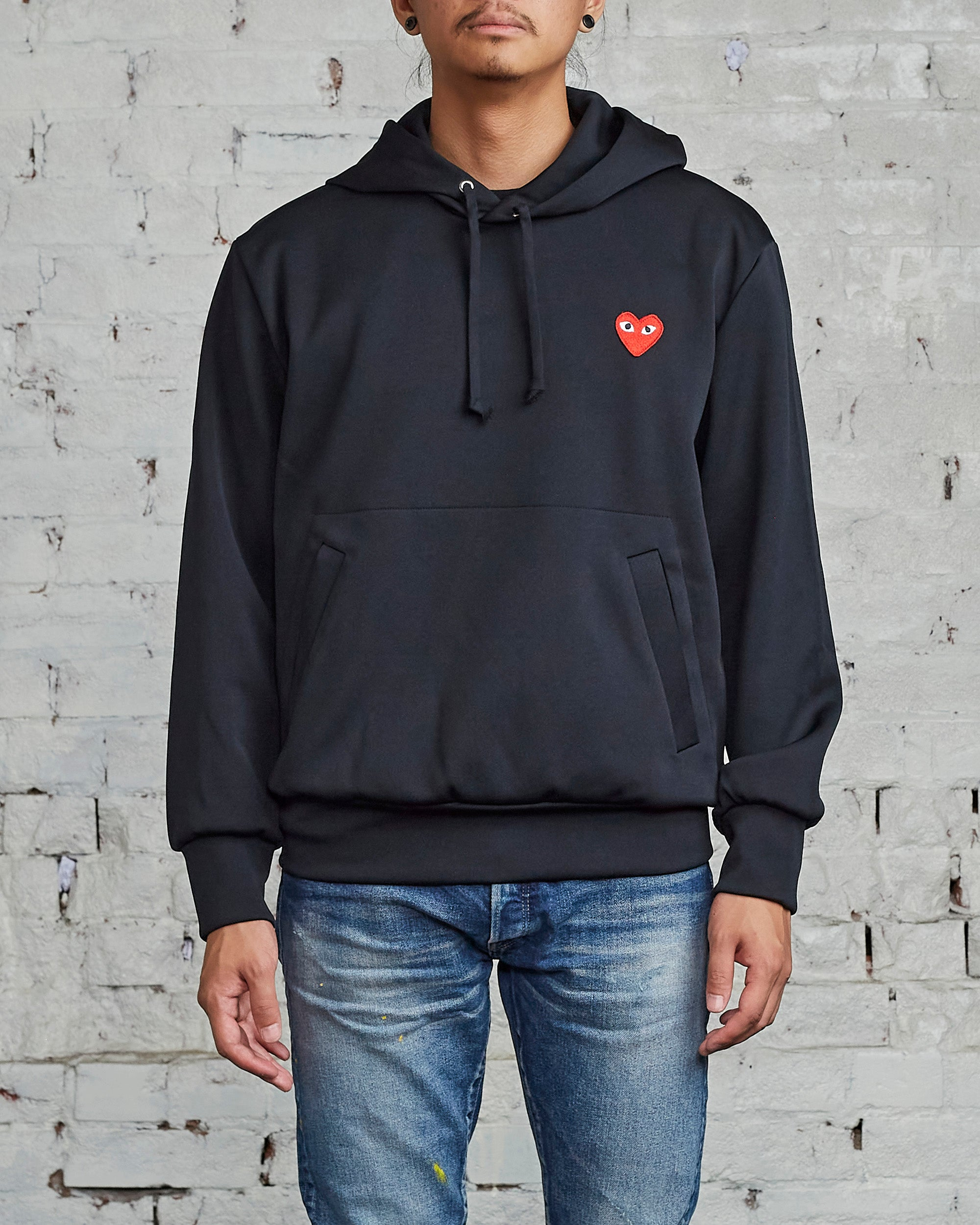 Comme des Garçons PLAY Red Heart Hooded Sweatshirt Black
