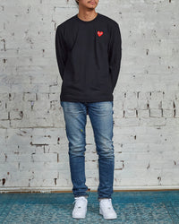 Comme des Garçons PLAY Red Heart Long Sleeve T-Shirt Black