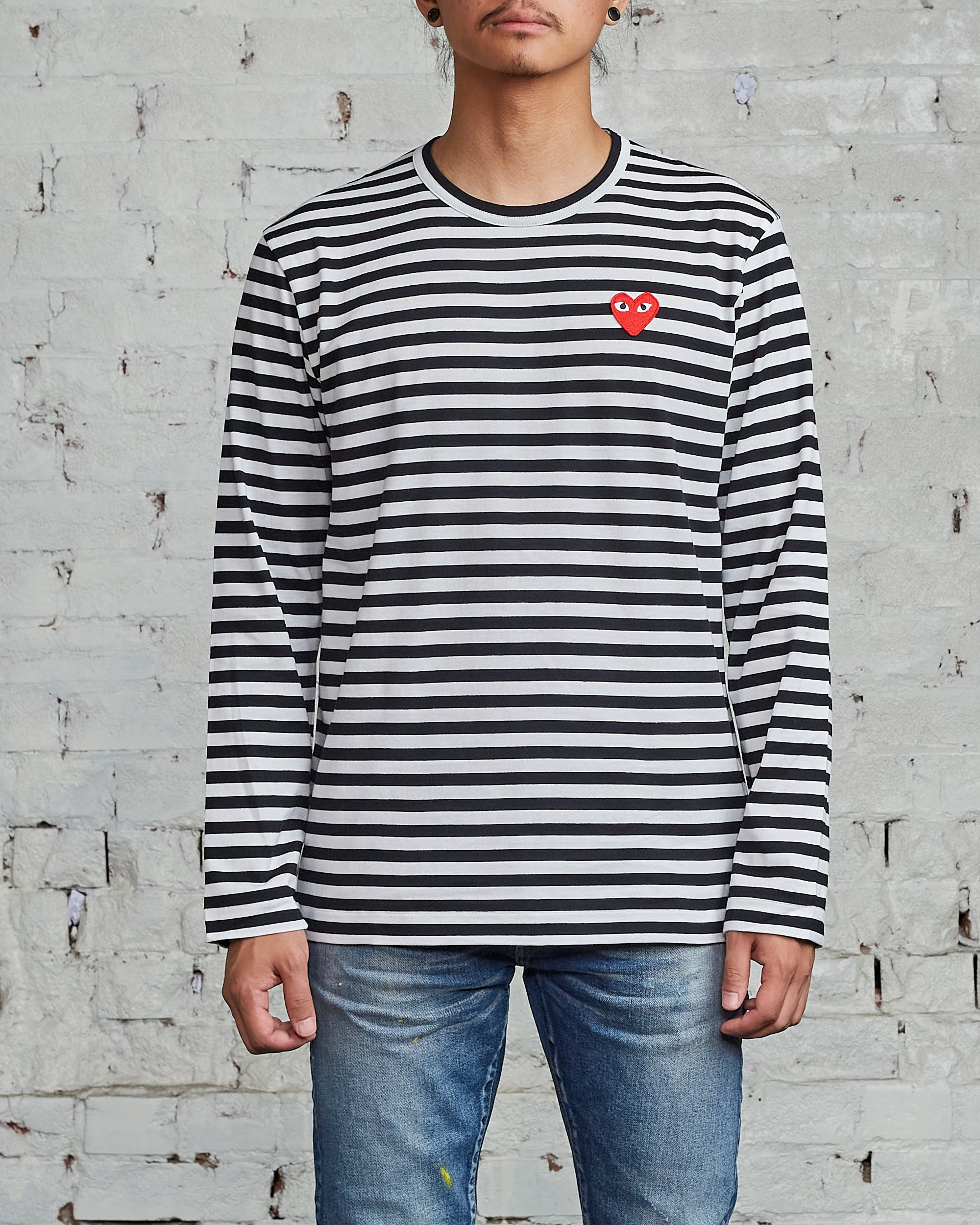 Comme des Garçons PLAY Red Heart Striped Long Sleeve T-Shirt Black / White