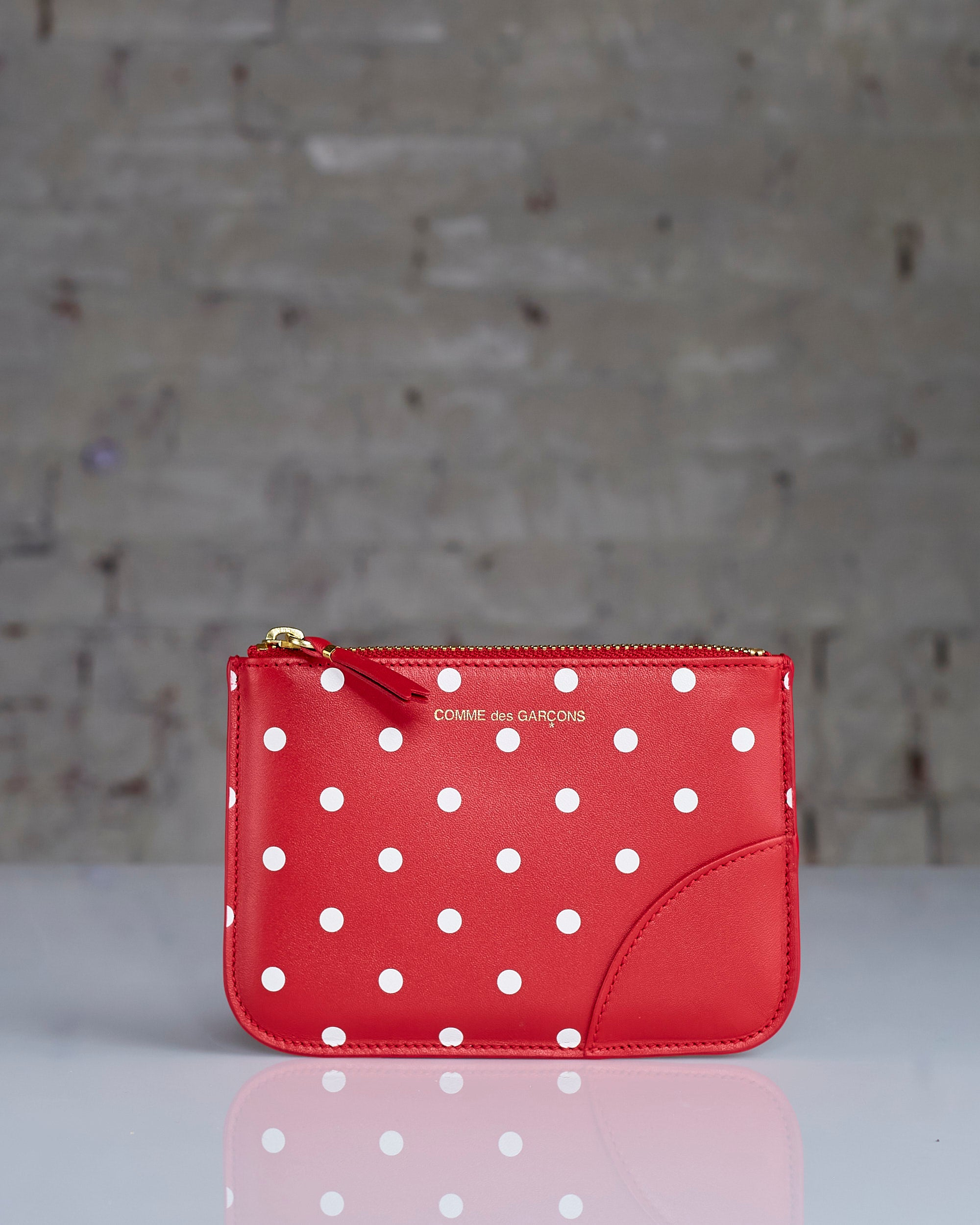 Comme des Garçons Wallet Dots Leather Zip Pouch Red
