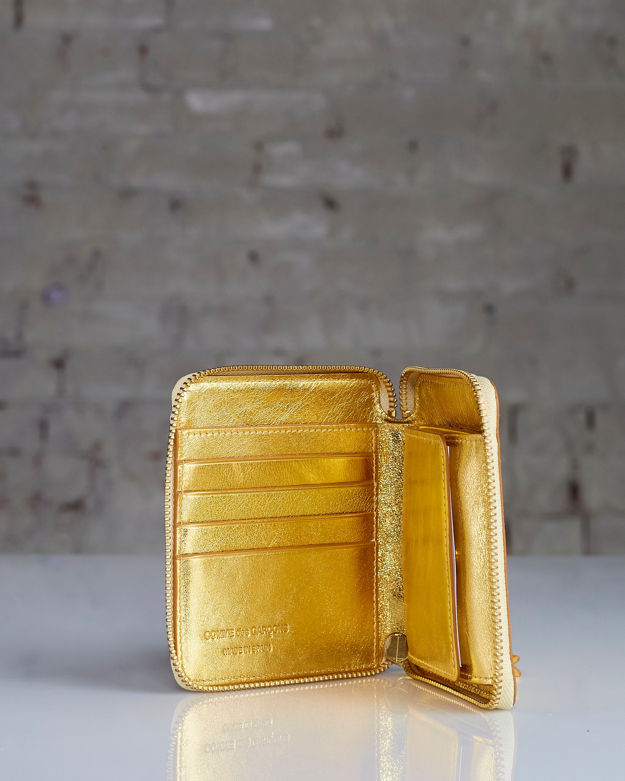 Comme des Garçons Wallet Gold and Silver Zip Wallet Gold