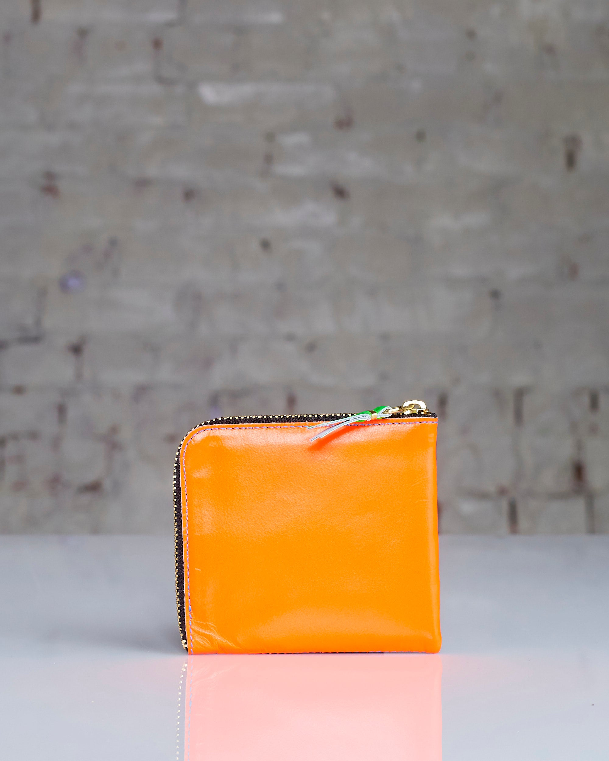 Comme des Garçons Wallet Super Fluo Leather Zip Wallet Orange