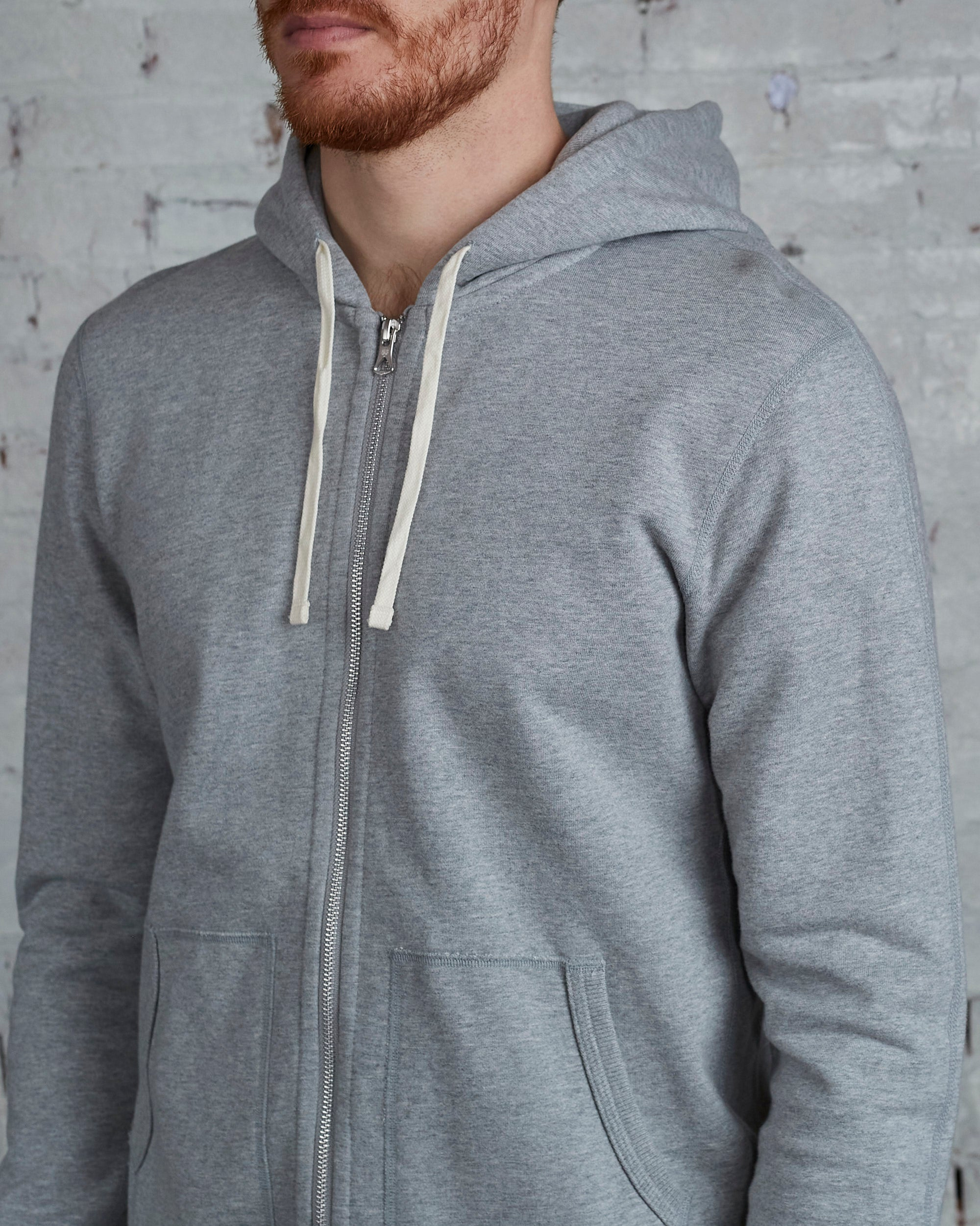 Reigning Champ Core Full Zip Hood Heather Grey