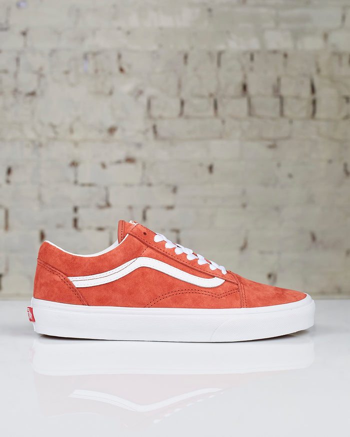 Vans Old Skool Pig Suede Burnt Brick True White-LESS 17
