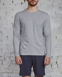 Reigning Champ Ringspun Long Sleeve T-Shirt Heather Grey-LESS 17