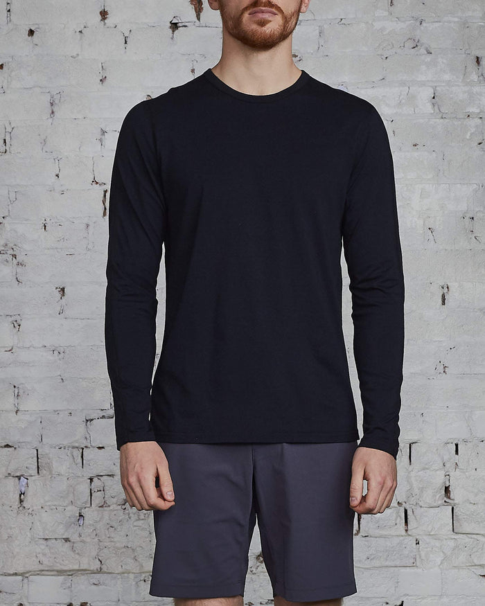 Reigning Champ Ringspun Long Sleeve T-Shirt Black-LESS 17