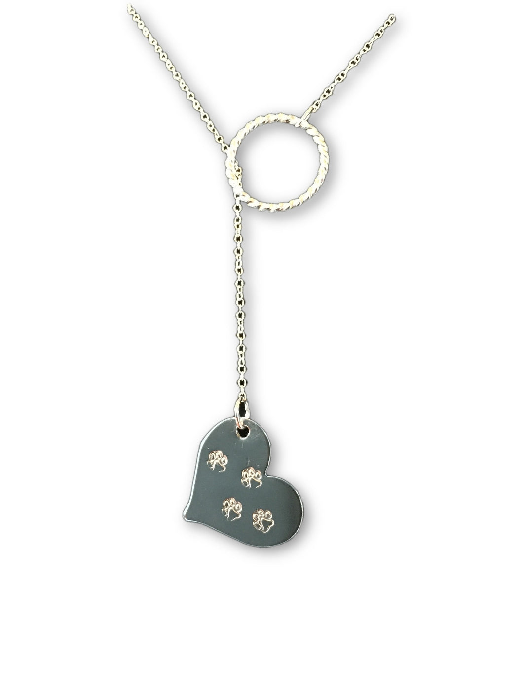 Pet Necklace, Pet Memorial Necklace, Paws on our Hearts Lariat, Inspire