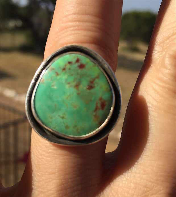 Mohave Green Size 8 Silver Ring - Custom