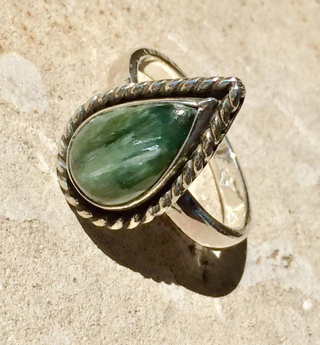 Seraphinite Ring, Tear Drop - Custom