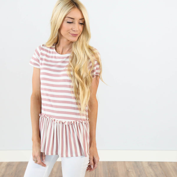 Briella Stripe Peplum Top in Blush Color