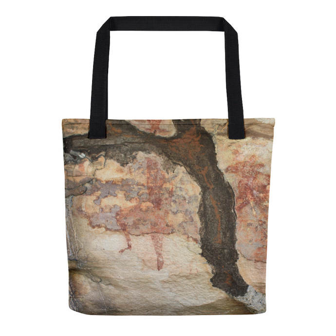 Termite Tunnel over Red Wallaby and Goanna, Rock Painting, Tote Bag