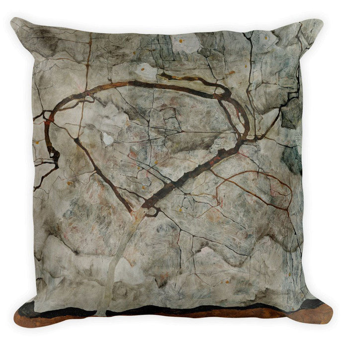 Autumn Tree in Stirred Air (Winter Tree), Egon Schiele, Square Pillow