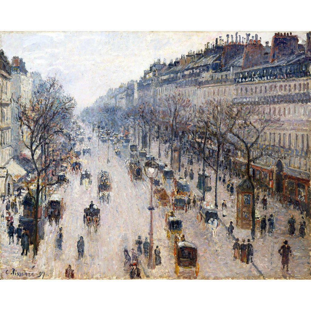 The Boulevard Montmartre on a Winter Morning, Camille Pissarro, Poster
