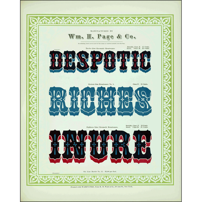 Despotic Riches Inure, William H. Page & Co., Poster