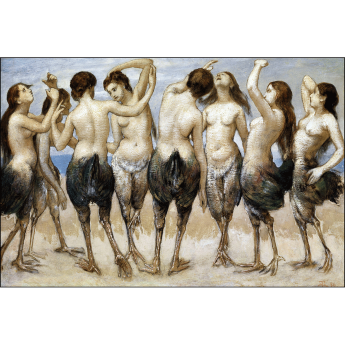 Eight Women Dancing in Bird Bodies, Hans Thoma, Poster