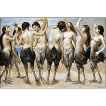 Eight Women Dancing in Bird Bodies, Hans Thoma, Framed Poster