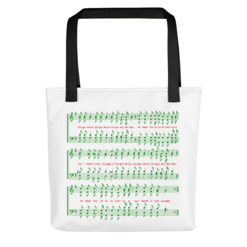 Chorus of Jingle Bells, Sheet Music, James Lord Pierpont, Tote Bag