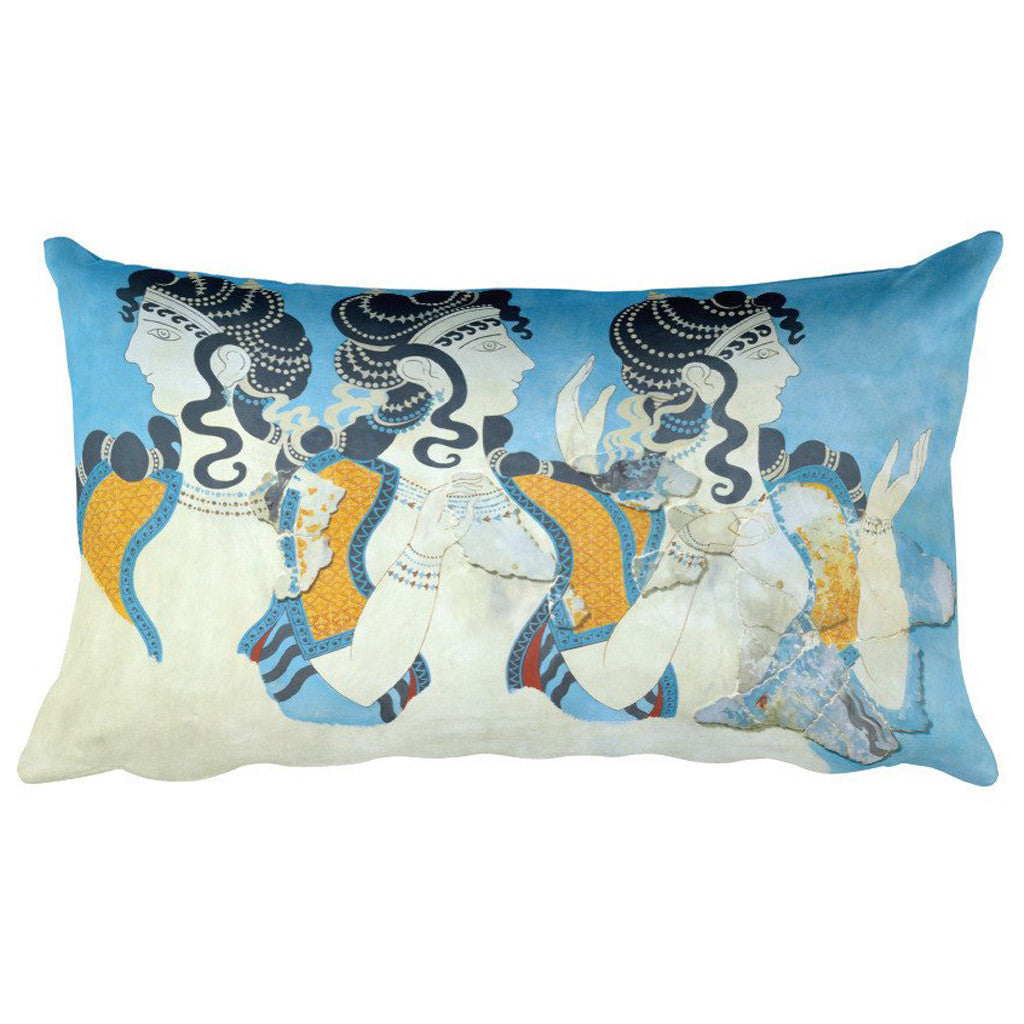 Ladies in Blue Fresco, Émile Gilliéron, Fils, Rectangular Pillow