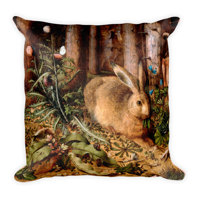 A Hare in the Forest, Hans Hoffmann, Square Pillow