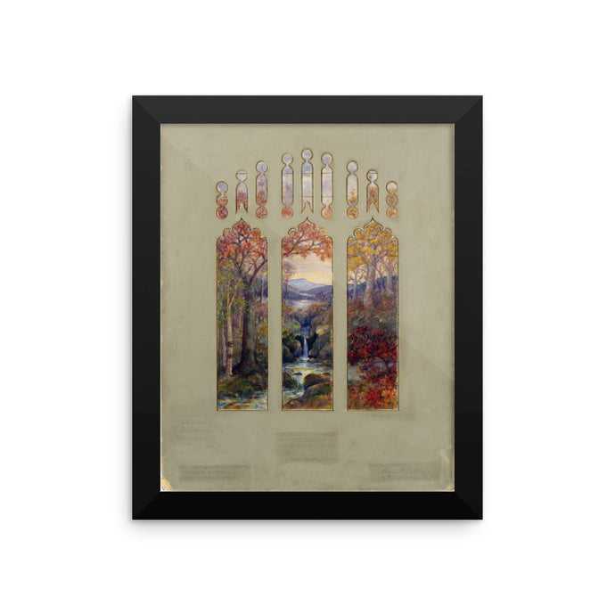 Design for Autumn Landscape Window, Louis Comfort Tiffany/Agnes F. Northrop, Framed Poster