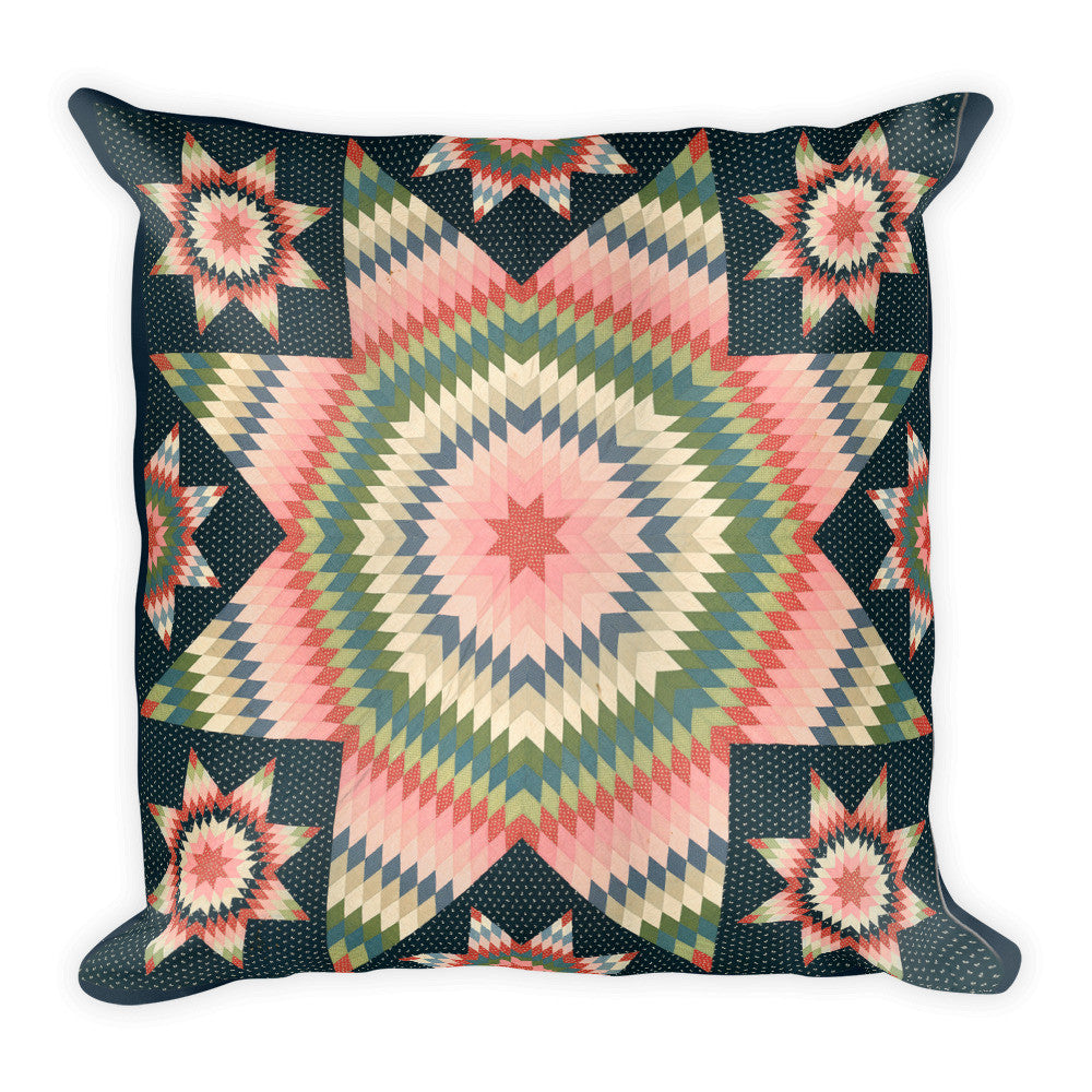 Star of Bethlehem Quilt, Pink on Blue, Square Pillow