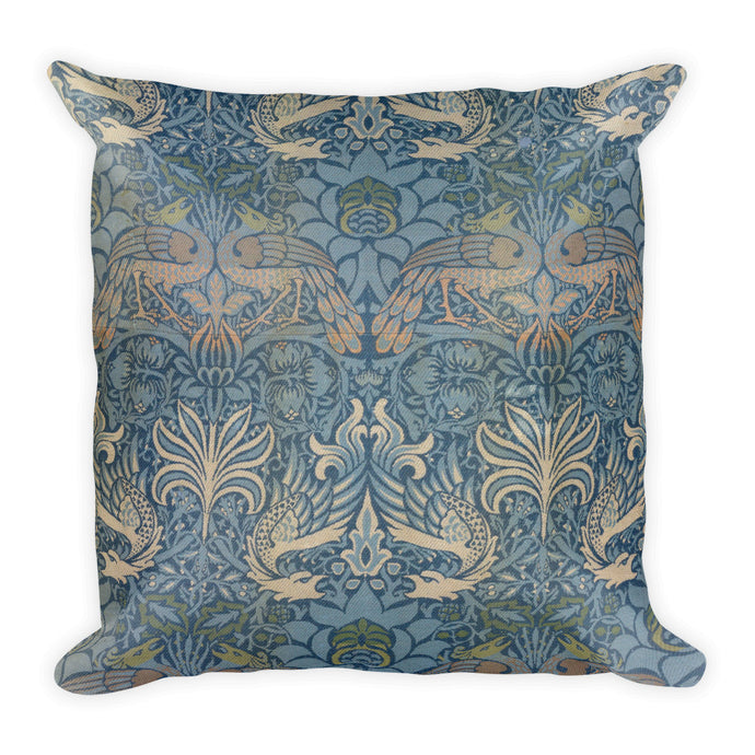 Peacock and Dragon, William Morris, Square Pillow